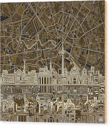 Berlin City Skyline Abstract Brown Wood Print by Bekim Art