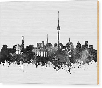 Berlin City Skyline Black And White Wood Print by Bekim Art