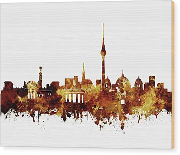 Berlin City Skyline Brown Wood Print by Bekim Art