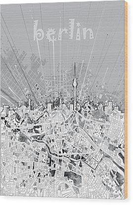 Berlin City Skyline Map 2 Wood Print by Bekim Art