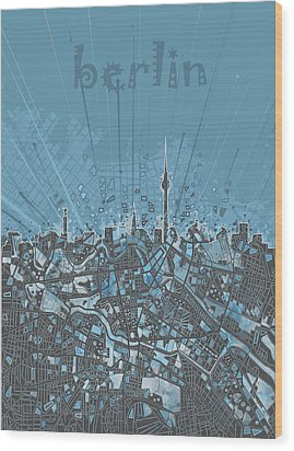 Berlin City Skyline Map 3 Wood Print by Bekim Art