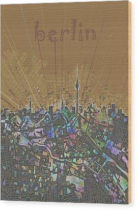 Berlin City Skyline Map 4 Wood Print by Bekim Art