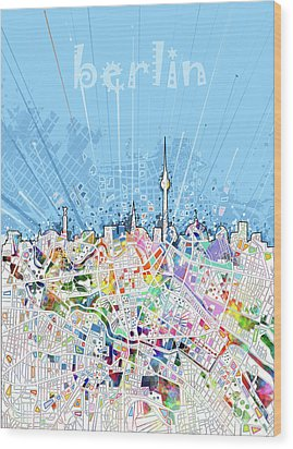Berlin City Skyline Map Wood Print by Bekim Art