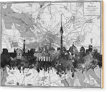 Berlin City Skyline Vintage 2 Wood Print by Bekim Art