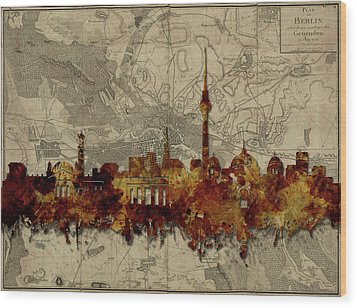 Berlin City Skyline Vintage Wood Print by Bekim Art