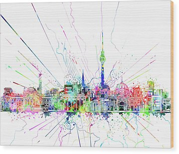 Berlin City Skyline Watercolor 2 Wood Print by Bekim Art