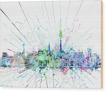 Berlin City Skyline Watercolor 3 Wood Print by Bekim Art