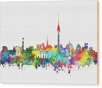 Berlin City Skyline Watercolor Wood Print by Bekim Art