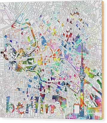 Berlin Map White Wood Print by Bekim Art