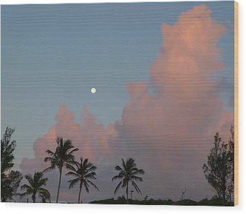 Bermuda Morning Moon Wood Print