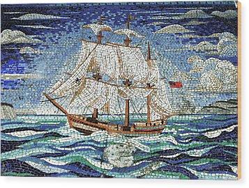 Bermuda Schooner Mosaic Wood Print by Sandy Taylor