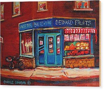 Bernard Fruit And Broomstore Wood Print by Carole Spandau