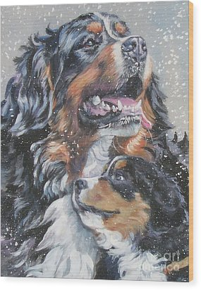 Bernese Mountain Dog With Pup Wood Print by Lee Ann Shepard