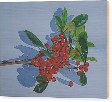 Wood Print featuring the mixed media Berries by Constance Drescher