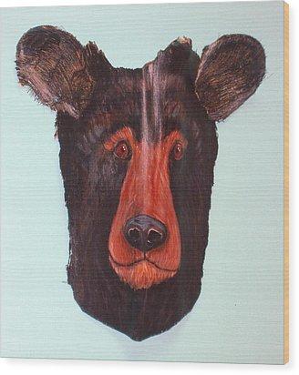 Berry Black Bear Wood Print by Ellen Burns