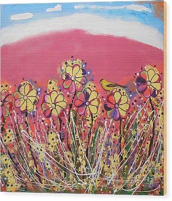Berry Pink Flower Garden Wood Print