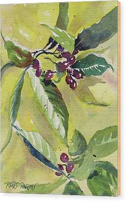 Wood Print featuring the painting Berry Study by Kris Parins