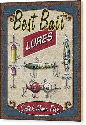 Best Bait Lures Wood Print by JQ Licensing
