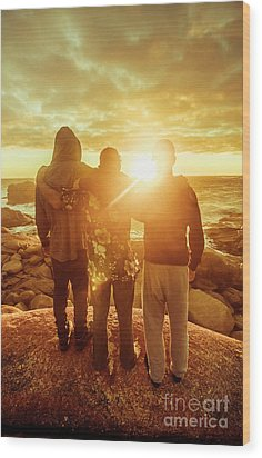 Wood Print featuring the photograph Best Friends Greeting The Sun by Jorgo Photography - Wall Art Gallery