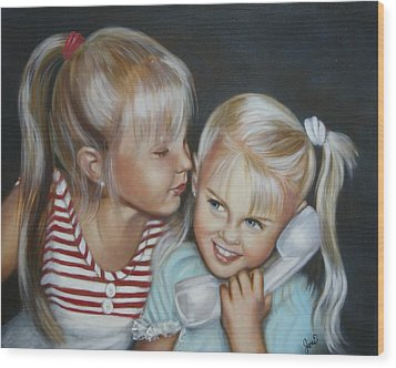 Wood Print featuring the painting Best Friends by Joni McPherson