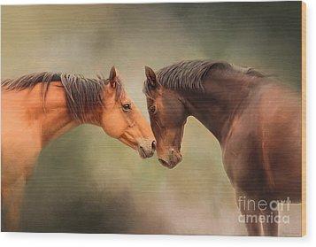 Best Friends - Two Horses Wood Print