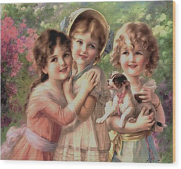 Best Of Friends Wood Print by Emile Vernon