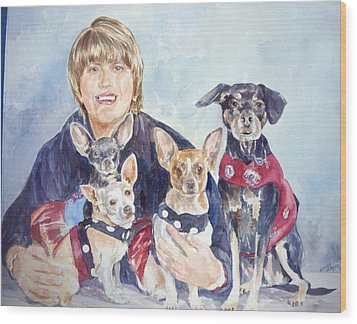 Beth And Her Babies Wood Print
