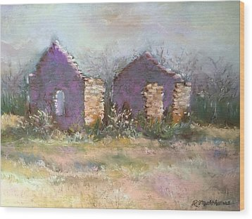 Wood Print featuring the pastel Bethel School At Sunset by Rebecca Matthews