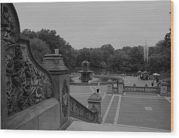 Bethesda Fountain Steps Wood Print by Christopher Kirby