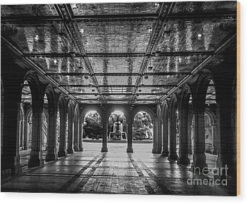Bethesda Terrace Arcade 2 - Bw Wood Print by James Aiken