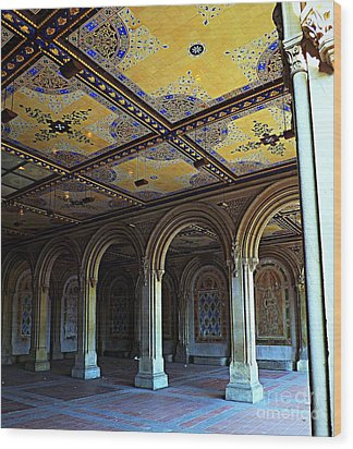 Bethesda Terrace Arcade In Central Park Wood Print by James Aiken