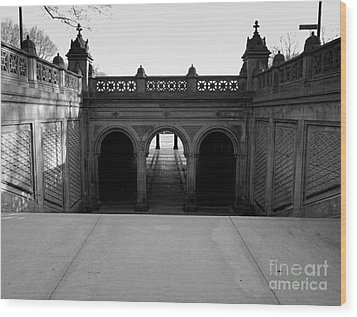 Bethesda Terrace In Central Park - Bw Wood Print by James Aiken