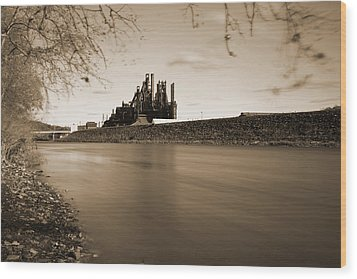 Bethlehem Steel Along The Lehigh Wood Print by Jennifer Ancker