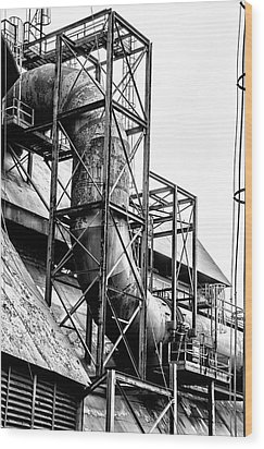 Bethlehem Steel - Black And White Industrial Wood Print by Bill Cannon