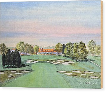 Wood Print featuring the painting Bethpage State Park Golf Course 18th Hole by Bill Holkham