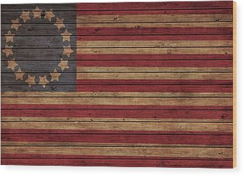 Betsy Ross American Flag Barn Wood Print by Dan Sproul
