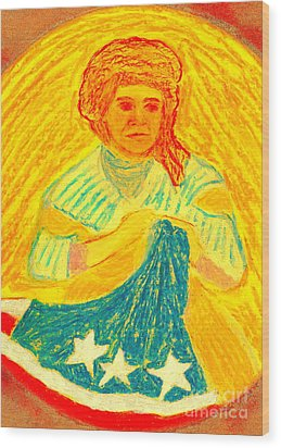 Betsy Ross Flag Myth Or Reality Wood Print by Richard W Linford