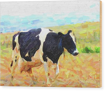 Betsy The Milk Cow Coming Home Wood Print by Wingsdomain Art and Photography