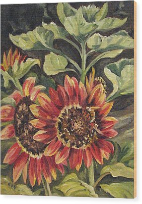 Betsy's Sunflowers Wood Print by Cheryl Pass