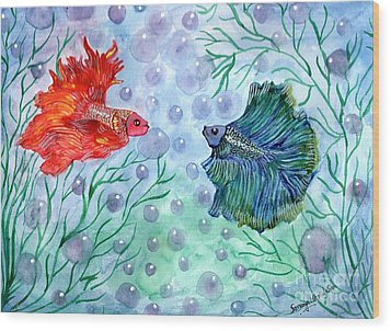 Betta Magic Wood Print by Saranya Haridasan