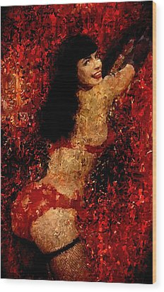 Bettie Page Painting Art Signed Prints Available At Laartwork.com Coupon Code Kodak Wood Print by Leon Jimenez