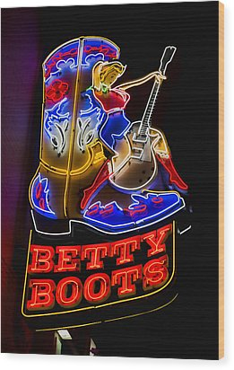 Betty Boots Wood Print