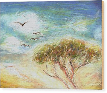 Wood Print featuring the drawing Betty's Tree by Denise Fulmer