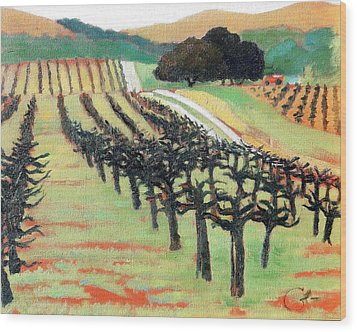 Wood Print featuring the painting Between Crops by Gary Coleman