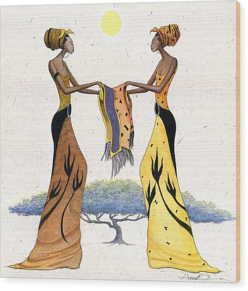 Between Friends Wood Print by Albert Fennell