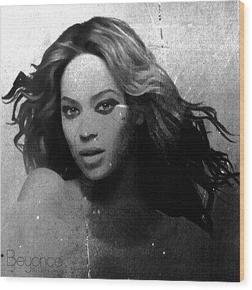 Beyonce Bw By Gbs Wood Print by Anibal Diaz
