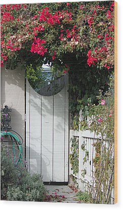 Beyond The Garden Gate Wood Print by Suzanne Gaff
