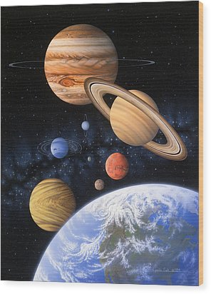 Beyond The Home Planet Wood Print by Lynette Cook