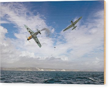 Wood Print featuring the photograph Bf109 Down In The Channel by Gary Eason