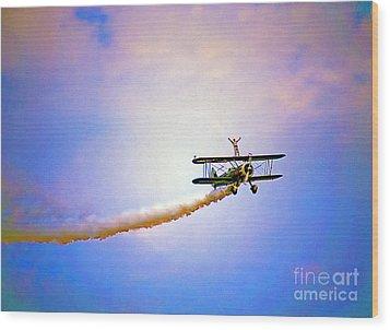 Bi-plane And Wing Walker Wood Print